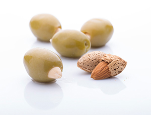 Green olive stuffed with almonds
